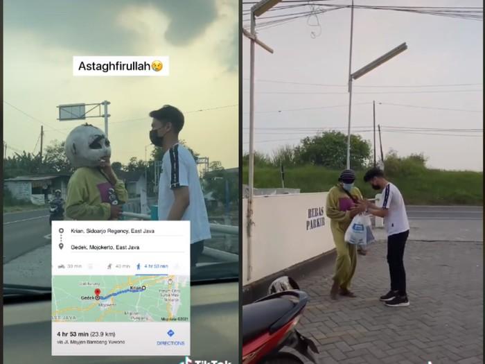 Jalan Kaki 24 Km, Tangis Badut Ini Pecah Usai Ditraktir Belanja