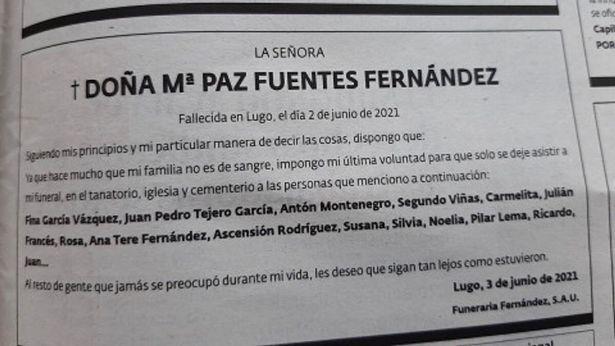 Berita duka Maria Paz Fuentes di surat kabar