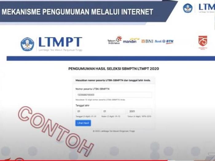 Contoh cek hasil pengumuman SBMPTN 2021.