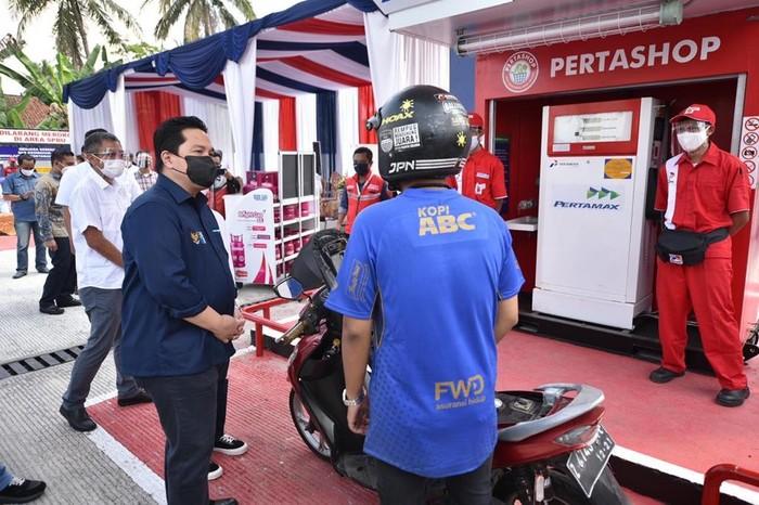 Erick Thohir kunjungi Pertashop yang jual 500 liter pertamax per hari.