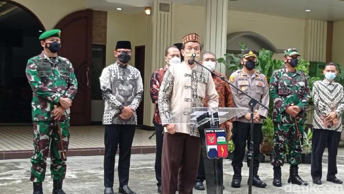 Ketua MUI Kota Bogor, Mustofa Abdullah, saat konpers bersama soal GKI Yasmin
