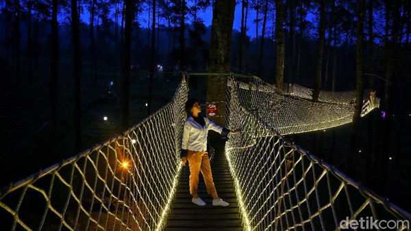 Menjelang malam, lampu-lampu di sky bridge akan menyala secara otomatis karena menggunakan sensor cahaya, membuat jembatan ini makin cantik.