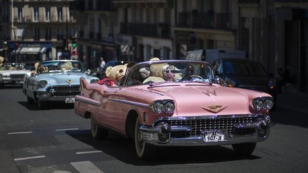 Boneka-boneka beruang itu ditempatkan di dalam mobil tua berbagai warna yang memiliki atap terbuka kemudian diajak berkeliling kawasan Kota Paris pada akhir pekan lalu.