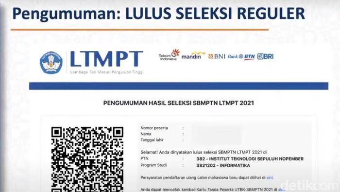 Pengumuman SBMPTN 2021 (dok. LTMPT)