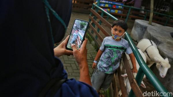 Orang tua memotret anaknya dengan hewan yang ada di Farm House Susu Lembang, Bandung Barat.