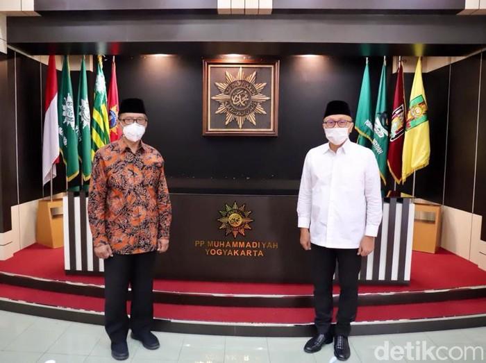Zulkifli Hasan dkk menemui Ketum PP Muhammadiyah Haedar Nashir, Yogyakarta, Senin (14/6/2021).