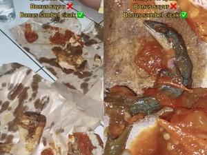 Jijik! Netizen Temukan Cicak dalam Sambal Pecel Ayam yang Lagi Dimakan