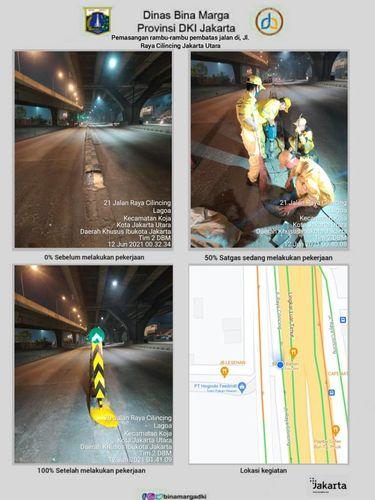 Dinas Bina Marga DKI Jakarta pasang pembatas jalan di Jl Raya Cilincing depan Halte Bus Airin.