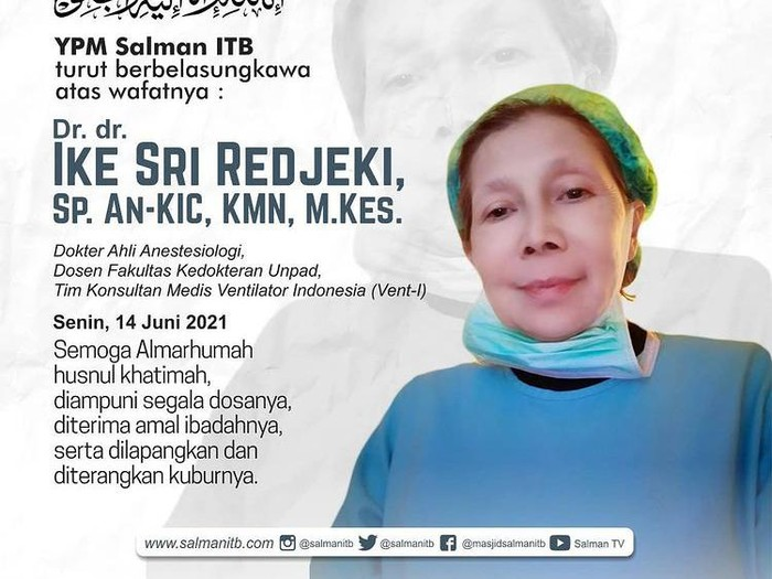 dr Sri Ike Redjeki meninggal dunia (dok Instagram @salmanitb)