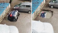 Ngeri! Mobil Jeblos ke Lubang saat Parkir, Lenyap Dalam Hitungan Detik