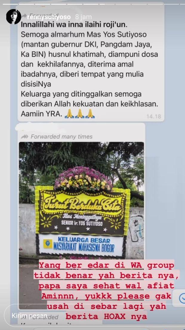 Pihak keluarga tepis kabar eks Gubernur DKI Jakarta Sutiyoso meninggal dunia (Instragram Story @rennysutiyoso)