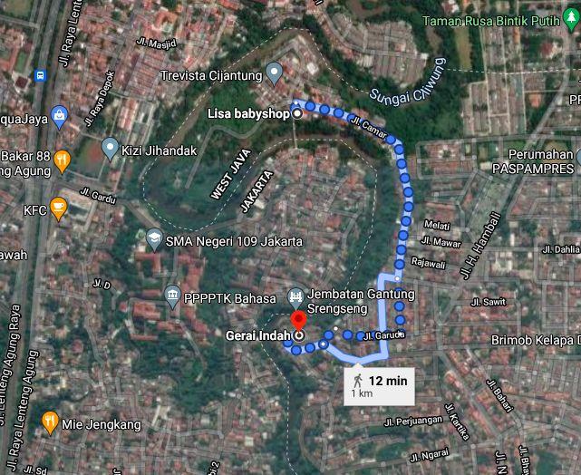 Lokasi jembatan gantung Srengseng Sawah yang ada pada jarak 500 meter ke selatan dari Jembatan Wiratman Karkasa yang sudah diperbaiki pada 2018. (Google Map)