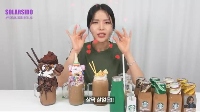 Gagalkan Diet, Solar MAMAMOO Mukbang Frappuccino 10 Ribu Kalori!