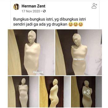 Postingan salah satu pengguna Facebook tentang bungkus-bungkus istri.