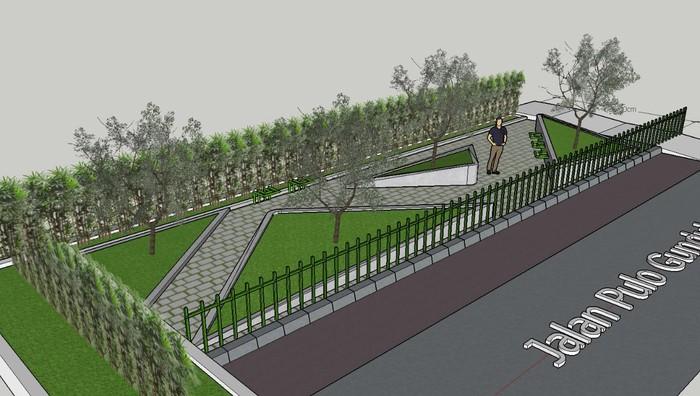 Taman di samping Jembatan Kota Paris, Johar Baru, Jakarta Pusat, 17 Juni 2021. (Dok Sudin Pertamanan dan Hutan Kota Jakpus)