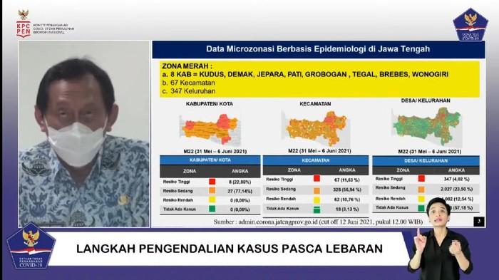 Update zona merah Corona di Jateng, Kamis (17/6/2021).