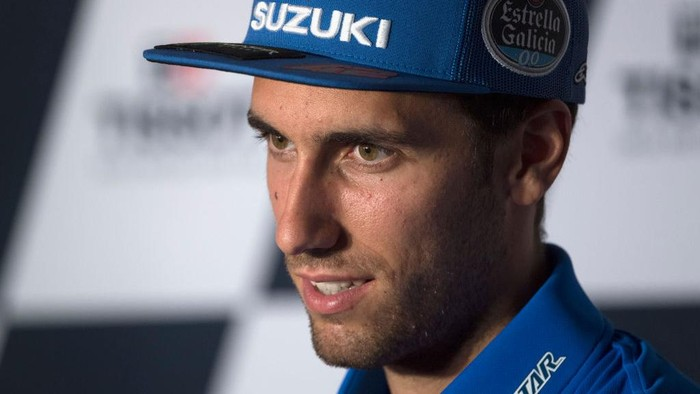 DOHA, QATAR - APRIL 01:  Alex Rins of Spain and Team Suzuki ECSTAR looks on during the press conference pre-event during the MotoGP of Qatar - Previews at Losail Circuit on April 01, 2021 in Doha, Qatar. (Photo by Mirco Lazzari gp/Getty Images)