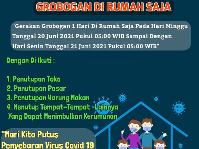 Gerakan Grobogan Satu Hari di Rumah Saja yang akan digelar Minggu (20/6) lusa.