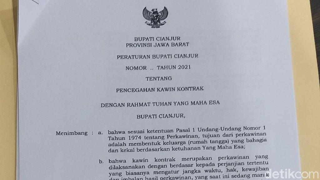 Ini Isi Perbup Larangan Kawin Kontrak di Cianjur