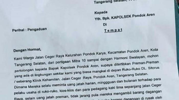 Surat warga Pondok Aren, Tangsel ke Kapolsek yang viral di medsos.