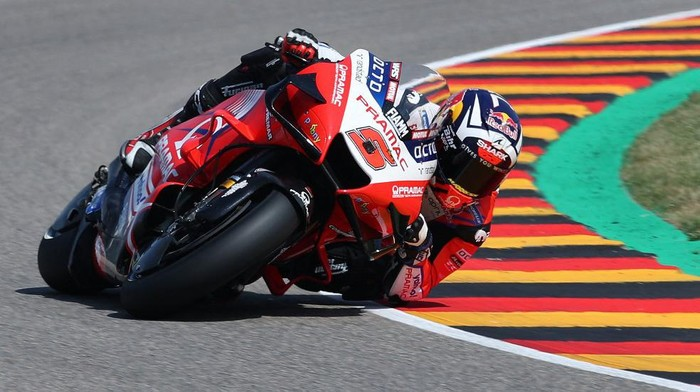 Ducati-Pramac French rider Johann Zarco steers his motorbike during the third free practice session ahead of the German motorcycle Grand Prix at the Sachsenring racing circuit in Hohenstein-Ernstthal near Chemnitz, eastern Germany, on June 19, 2021. (Photo by Ronny Hartmann / AFP)