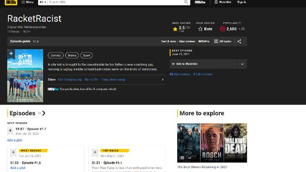Racket Boys di situs IMDb