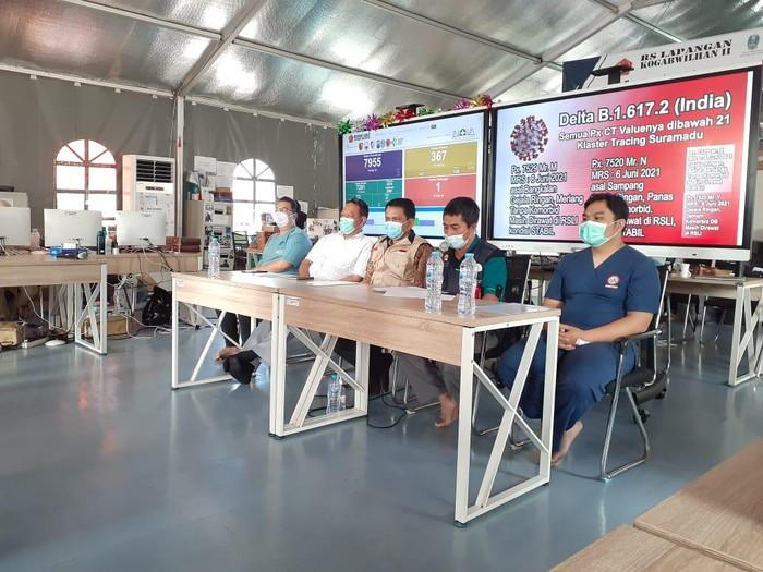 Rumah Sakit Lapangan Indrapura (RSLI) Surabaya kini merawat empat dari delapan pasien COVID-19 varian Delta. Keempatnya positif COVID-19 saat swab dalam penyekatan Suramadu.