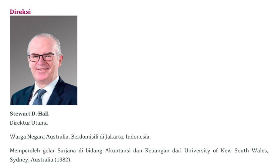 Direktur Utama PT Bank QNB Indonesia Tbk (BKSW) Stewart Donald Hall