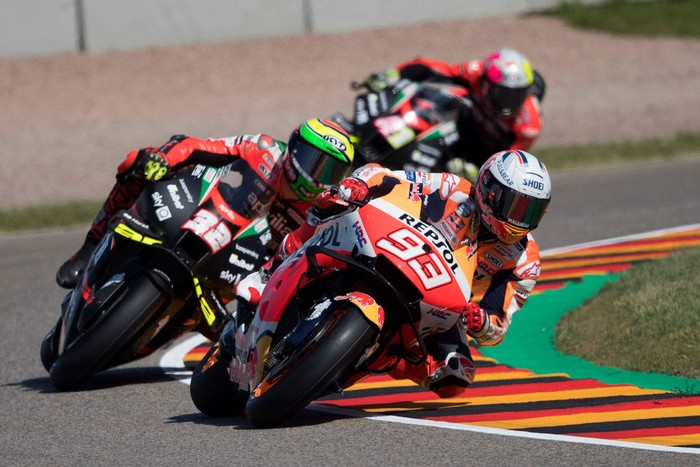 HOHENSTEIN-ERNSTTHAL, GERMANY - JUNE 18:  Marc Marquez of Spain and Repsol Honda Team leads the field during the  MotoGP of Germany - Free Practice at Sachsenring Circuit on June 18, 2021 in Hohenstein-Ernstthal, Germany. (Photo by Mirco Lazzari gp/Getty Images)