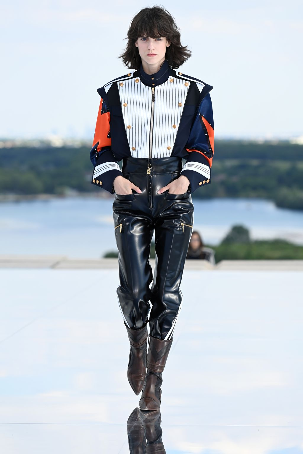 CERGY, FRANCE - JUNE 08: In this image released on June 15th, Miriam Sanchez walks the runway during the Louis Vuitton 2022 Cruise Collection on June 08, 2021 in Cergy, France. (Photo by Pascal Le Segretain/Getty Images)