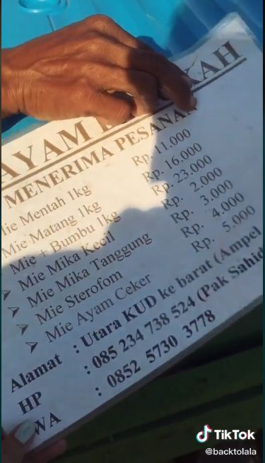 Viral Mie Ayam Harga 1.000 Rupiah Seporsi di Jember