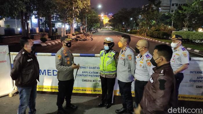 Penutupan di Jalan Pahlawan menuju Simpang Lima Semarang, Senin (21/6/2021).