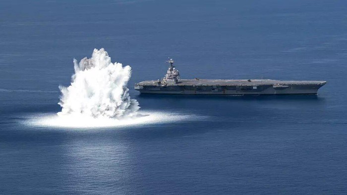 The USS Gerald R. Ford completes its first scheduled Full Ship Shock Trial in the Atlantic Ocean on June 18, 2021 (Jackson ADKINS US NAVY/AFP)