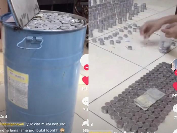 Viral momen bongkar celengan koin yang bernilai puluhan juta.