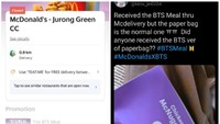 Habis Dalam 5 Menit, Pelanggan BTS Meal Singapura Kecewa Dapat Kantong Polos!