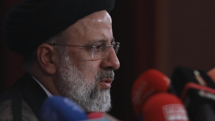 Irans new President-elect Ebrahim Raisi speaks during his press conference in Tehran, Iran, Monday, June 21, 2021. Raisi said Monday he wouldnt meet with President Joe Biden nor negotiate over Tehrans ballistic missile program and its support of regional militias, sticking to a hard-line position following his landslide victory in last weeks election. (AP Photo/Vahid Salemi)