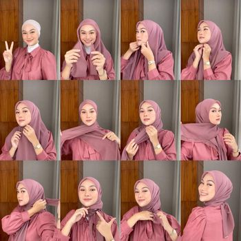 Tutorial hijab pashmina ala Indah Nada Puspita.