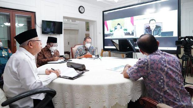 Ma'ruf Amin saat rapat terkait pembangunan di Papua