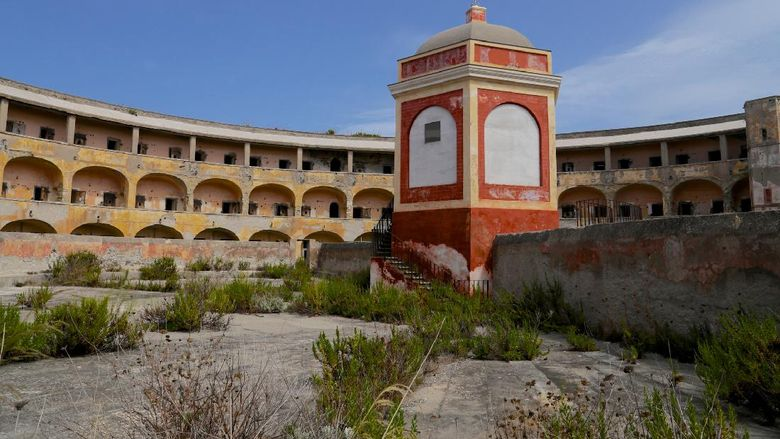 Old and abandoned prison in Santo Stefano island