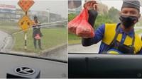 Bikin Haru! Pria Ini Rela Kehujanan demi Jualan Burgernya Laku