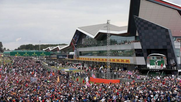 NORTHAMPTON, ENGLAND - JULY 14: A general view of the podium as race winner Lewis Hamilton of Great Britain and Mercedes GP, second placed Valtteri Bottas of Finland and Mercedes GP and third placed Charles Leclerc of Monaco and Ferrari celebrate during the F1 Grand Prix of Great Britain at Silverstone on July 14, 2019 in Northampton, England. (Photo by Charles Coates/Getty Images)