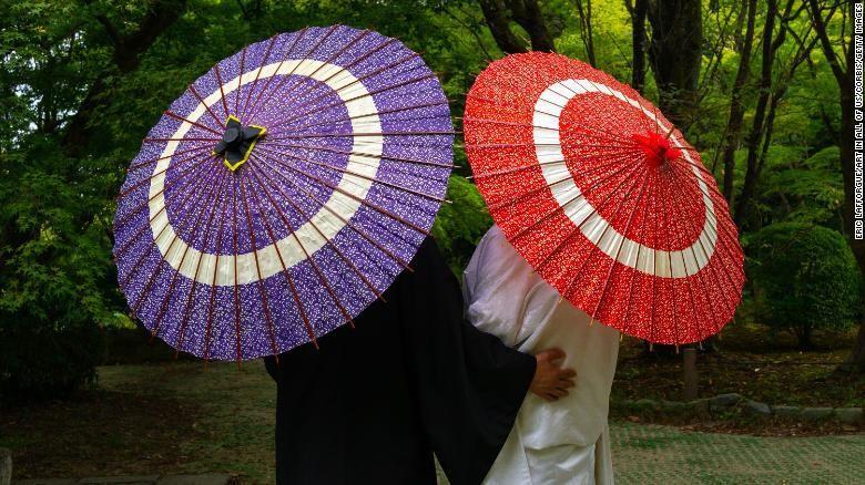 Ilustrasi pasangan suami istri Jepang