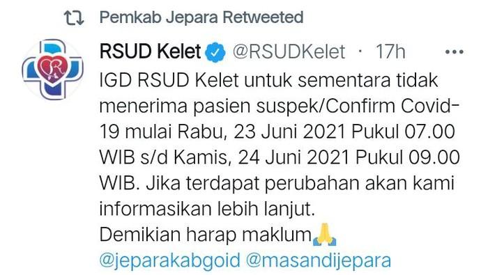 RSUD Kelet Jepara sempat tolak pasien Corona gegara kendala pasokan oksigen, Kamis (24/6/2021).