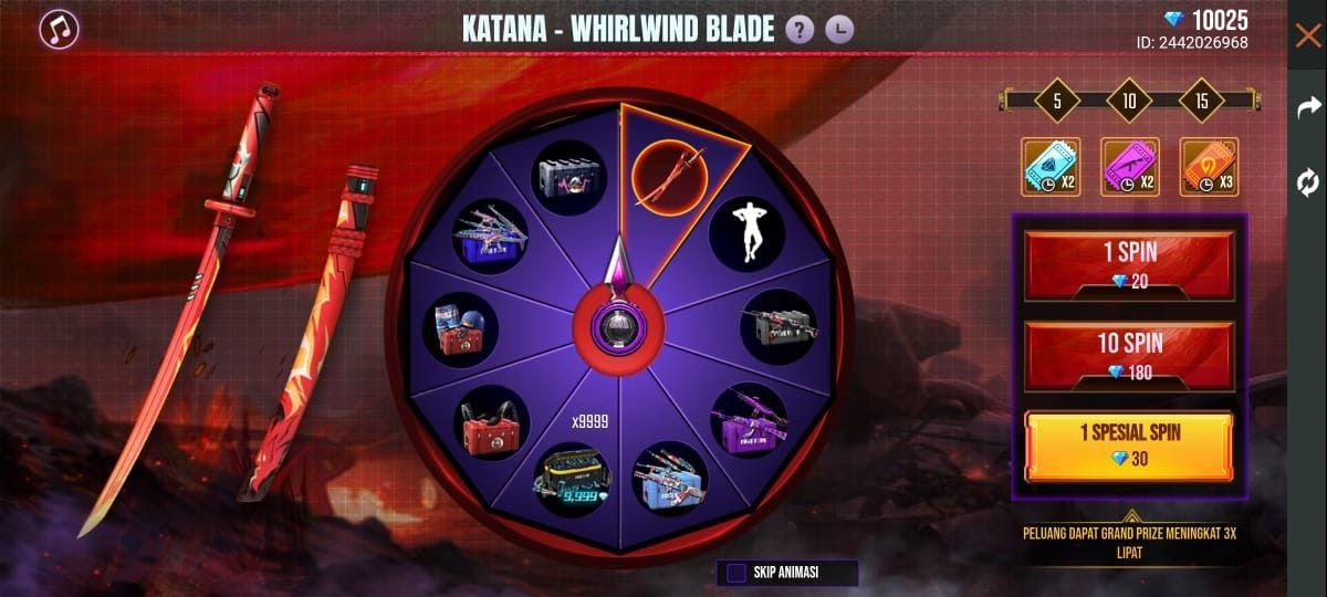 Bertema Rampage: New Dawn, Katana Whirlwind Blade Hadir di Free Fire