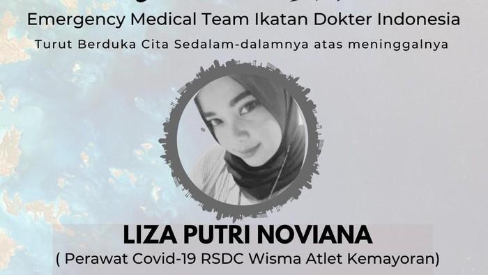 Liza Putri Noviana, nakes RSDC Wisma Atlet Kemayoran gugur karena COVID-19