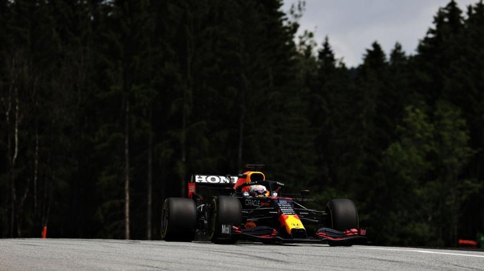 SPIELBERG, AUSTRIA - JUNE 25: Max Verstappen of the Netherlands driving the (33) Red Bull Racing RB16B Honda on track during practice ahead of the F1 Grand Prix of Styria at Red Bull Ring on June 25, 2021 in Spielberg, Austria. (Photo by Bryn Lennon/Getty Images)