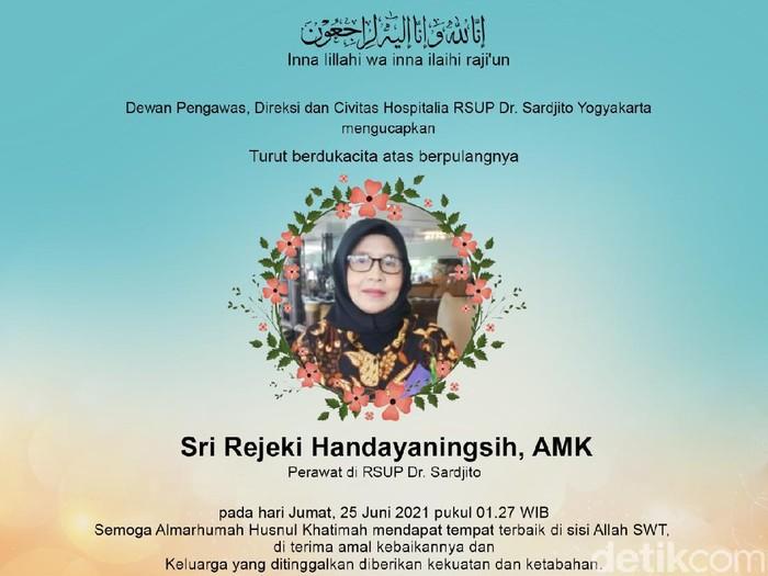 Perawat RSUP Dr Sardjito Yogyakarta, Sri Rejeki Handayaningsih, gugur positif Corona, Sleman, Jumat (25/6/2021).
