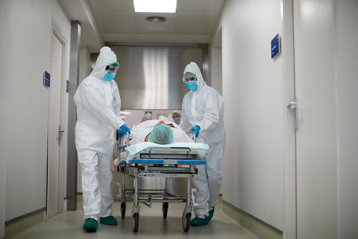 Transferring a patient from the emergency area into the ICU