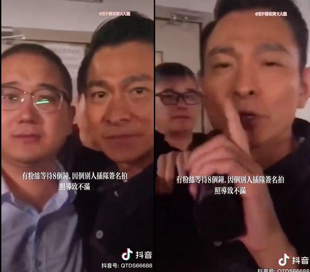 Andy Lau saat tenangkan fans mengamuk.