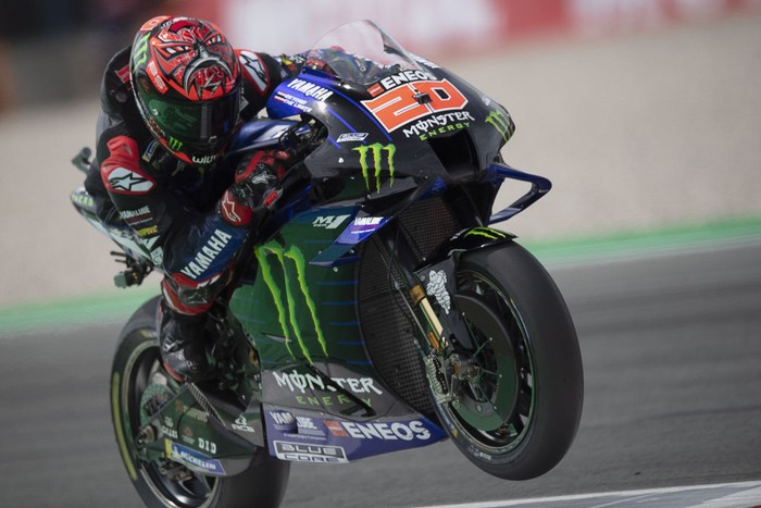 ASSEN, NETHERLANDS - JUNE 26: Fabio Quartararo of France and Monster Energy Yamaha MotoGP Team  heads down a straight during the MotoGP of Netherlands - Qualifying at TT Circuit Assen on June 26, 2021 in Assen, Netherlands. (Photo by Mirco Lazzari gp/Getty Images)